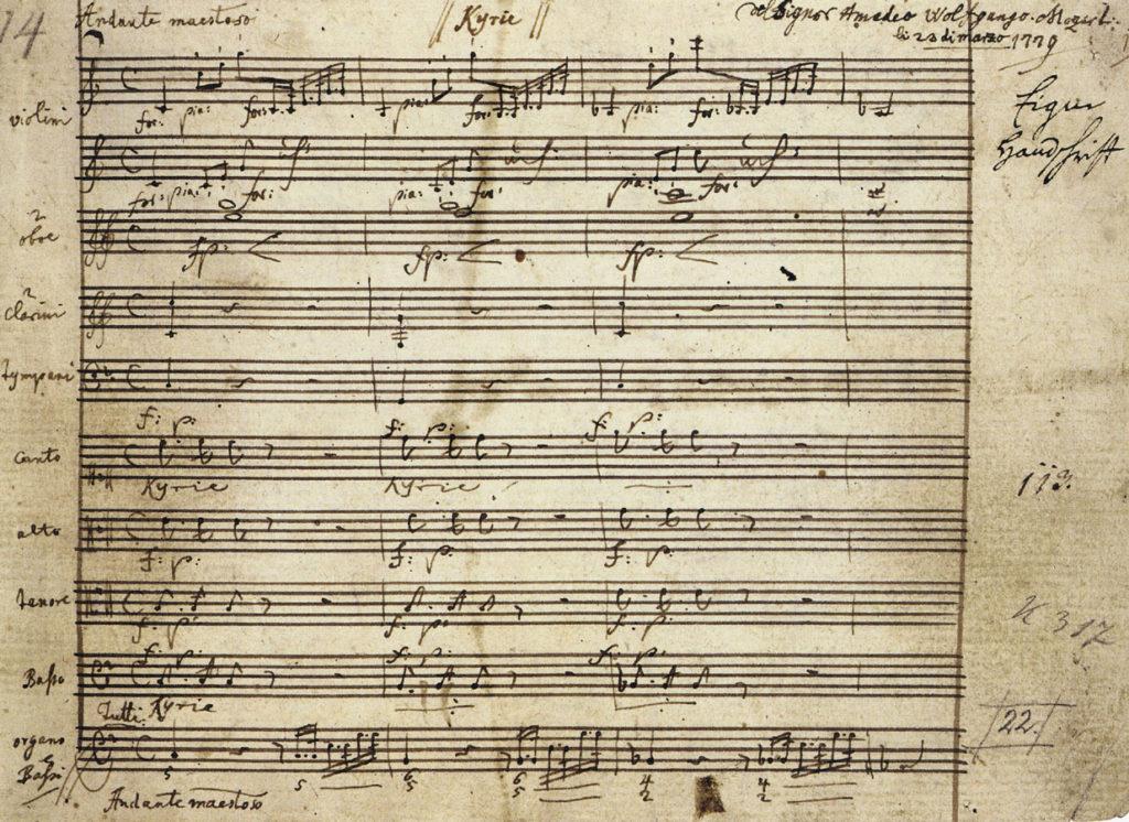 Premières mesures du Kyrie de la Messe du Couronnement de Mozart